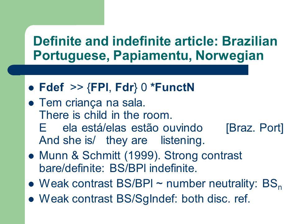 Definite and indefinite article: Brazilian Portuguese, Papiamentu, Norwegian Fdef >> {FPl, Fdr} 0 *FunctN Tem criança na sala.