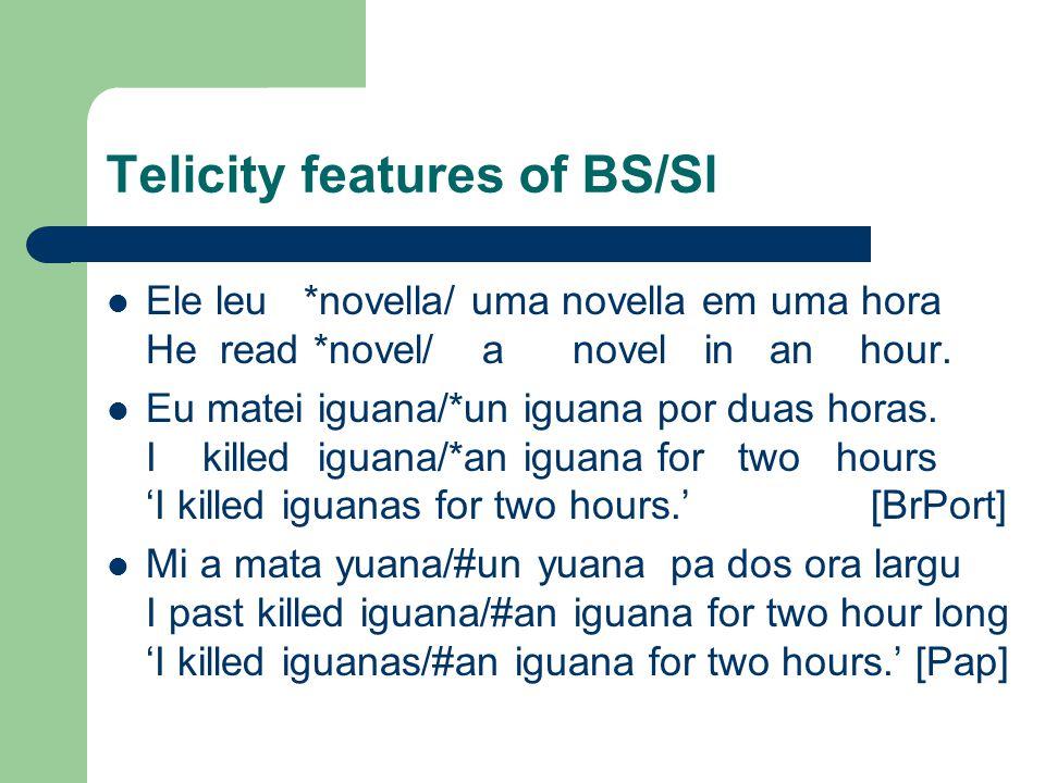 Telicity features of BS/Sl Ele leu *novella/ uma novella em uma hora He read *novel/ a novel in an hour.