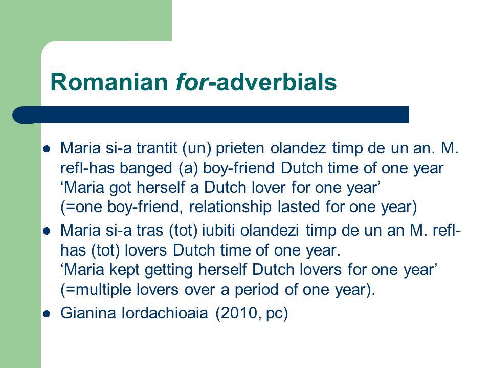 Romanian for-adverbials Maria si-a trantit (un) prieten olandez timp de un an.