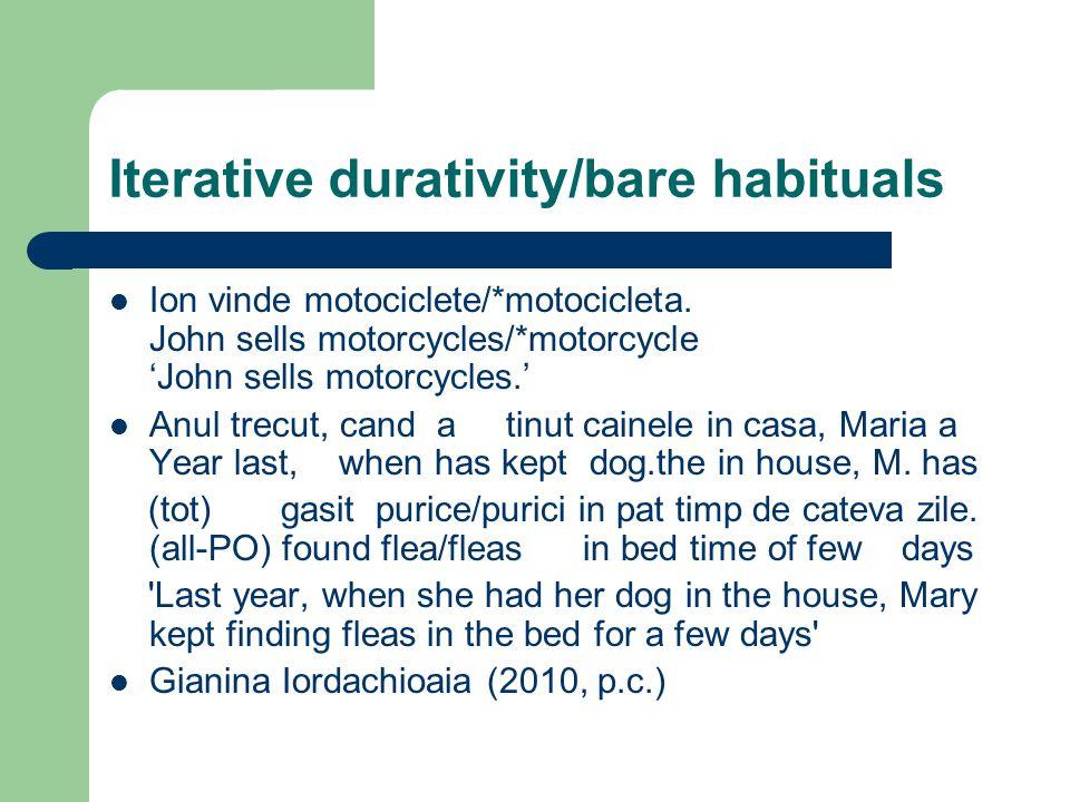 Iterative durativity/bare habituals Ion vinde motociclete/*motocicleta.