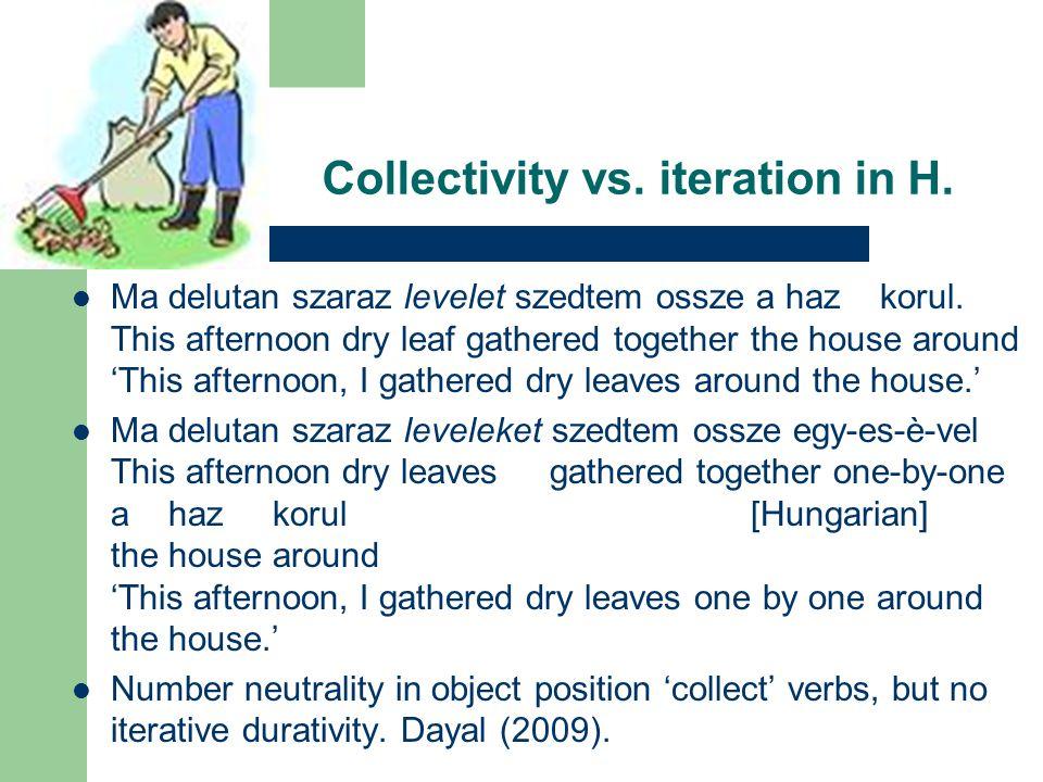 Collectivity vs. iteration in H. Ma delutan szaraz levelet szedtem ossze a haz korul.