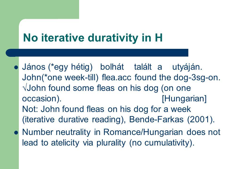 No iterative durativity in H János (*egy hétig) bolhát talált a utyáján.