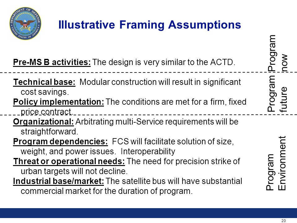 20 Illustrative Framing Assumptions Pre-MS B activities: The design is very similar to the ACTD. Technical base: Modular construction will result in s