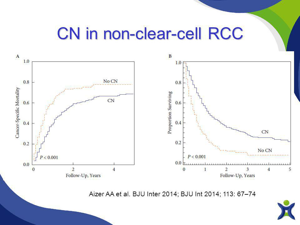 Aizer AA et al. BJU Inter 2014; BJU Int 2014; 113: 67–74 CN in non-clear-cell RCC