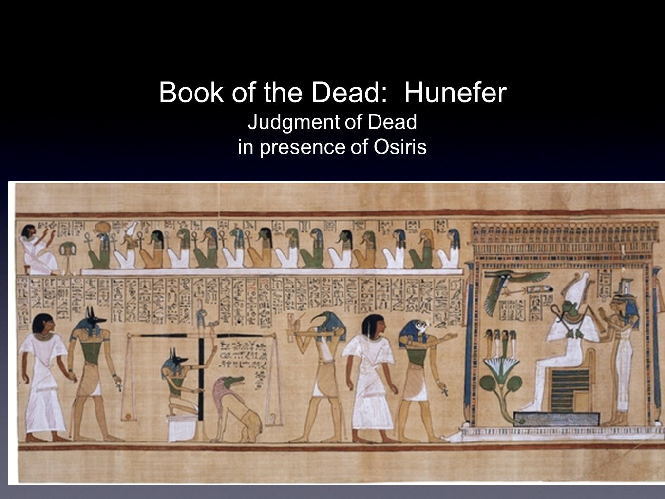 Book of the Dead: Hunefer Judgment of Dead in presence of Osiris