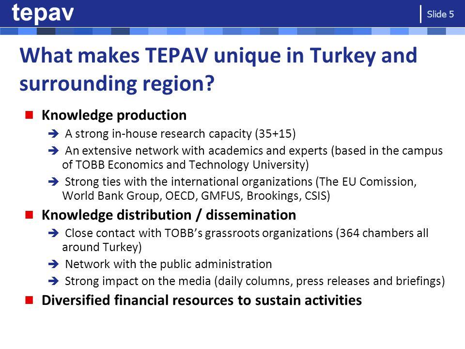 What makes TEPAV unique in Turkey and surrounding region.