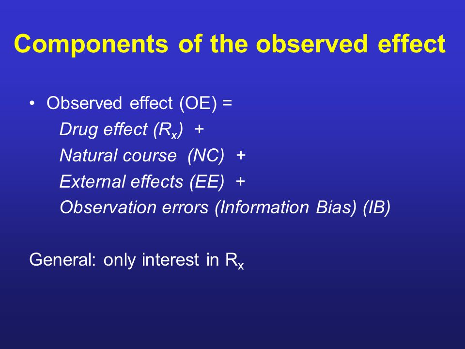 Components of the observed effect Observed effect (OE) = Drug effect (R x ) + Natural course (NC) + External effects (EE) + Observation errors (Information Bias) (IB) General: only interest in R x