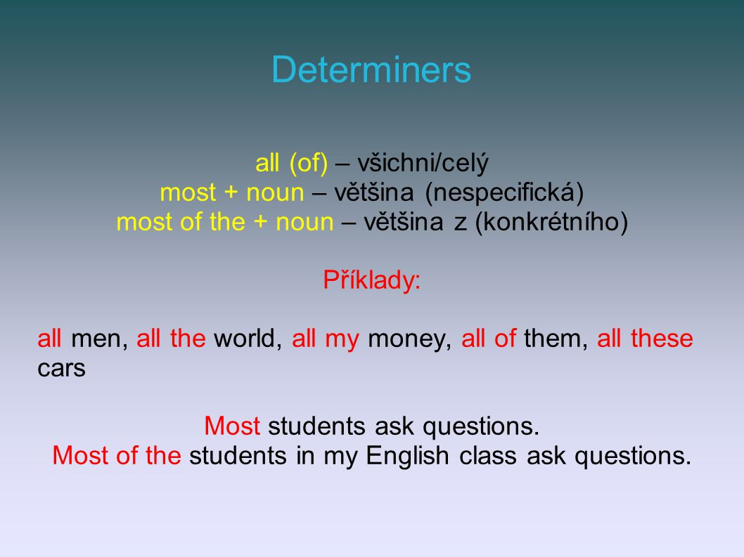 Determiners all (of) – všichni/celý most + noun – většina (nespecifická) most of the + noun – většina z (konkrétního) Příklady: all men, all the world, all my money, all of them, all these cars Most students ask questions.