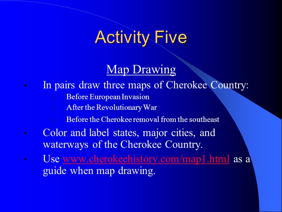 Activity Five Map Drawing In pairs draw three maps of Cherokee Country: 1.