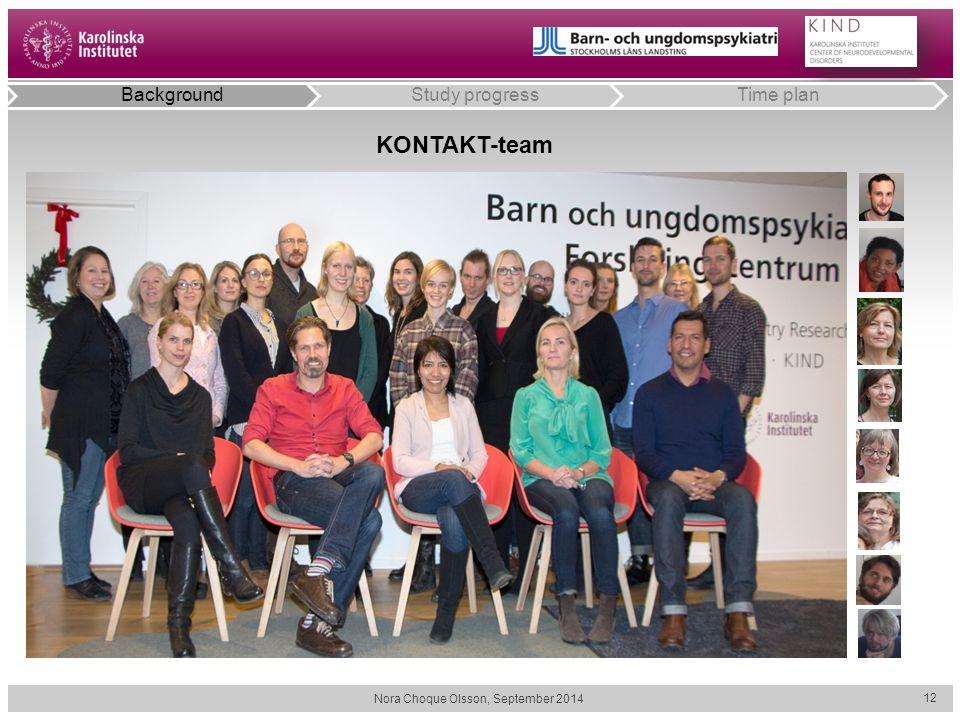 Nora Choque Olsson, September 2014 12 KONTAKT-team BackgroundStudy progressTime plan