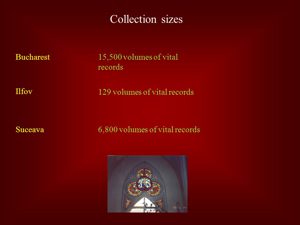 Collection sizes Bucharest Ilfov Suceava 15,500 volumes of vital records 129 volumes of vital records 6,800 volumes of vital records