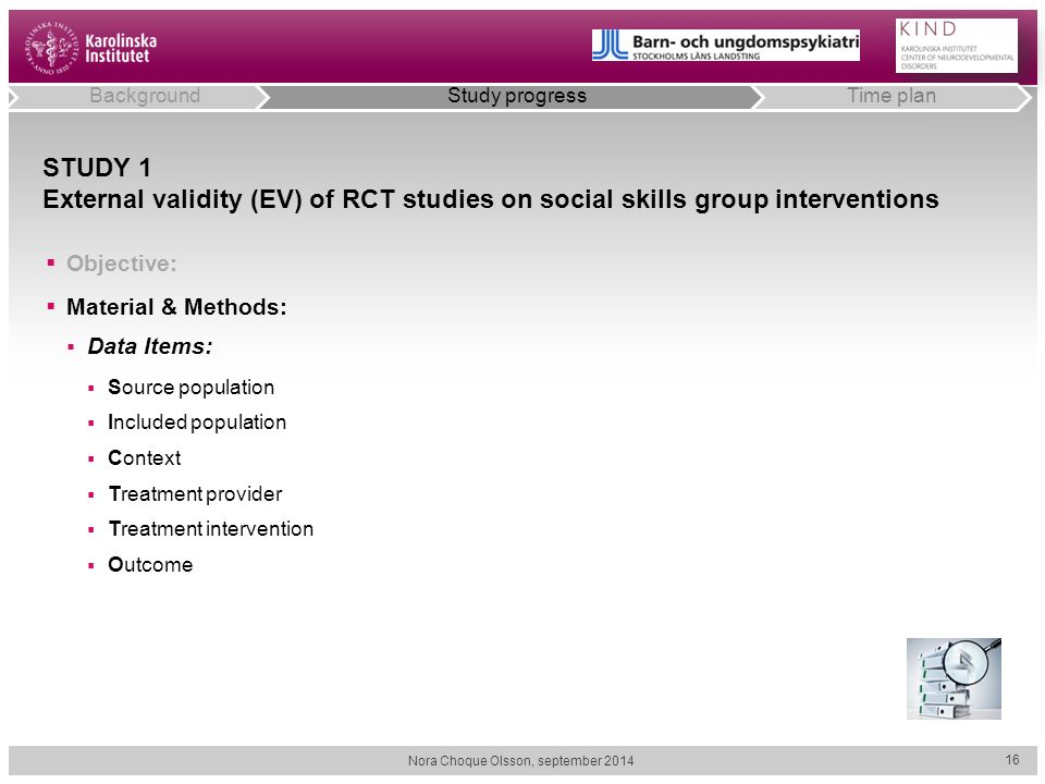 STUDY 1 External validity (EV) of RCT studies on social skills group interventions  Objective:  Material & Methods:  Data Items:  Source populatio
