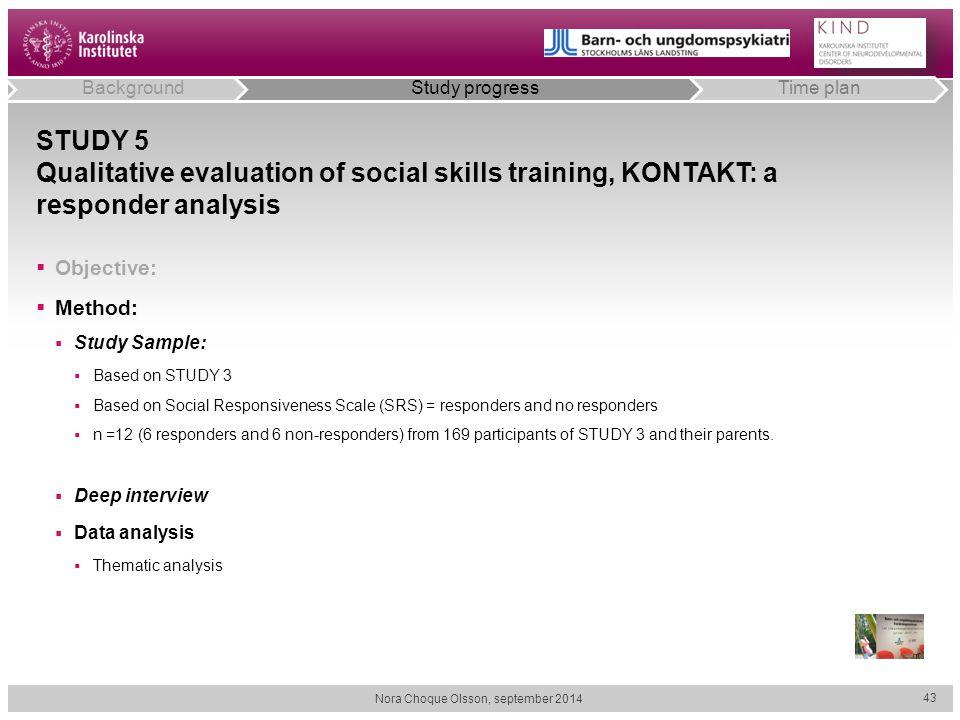 STUDY 5 Qualitative evaluation of social skills training, KONTAKT: a responder analysis  Objective:  Method:  Study Sample:  Based on STUDY 3  Ba