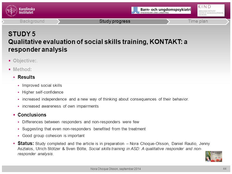 STUDY 5 Qualitative evaluation of social skills training, KONTAKT: a responder analysis  Objective:.  Method:  Results  Improved social skills  H
