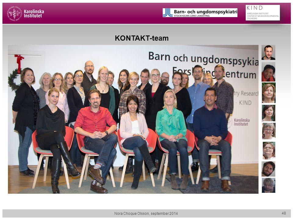 Nora Choque Olsson, september 2014 48 KONTAKT-team