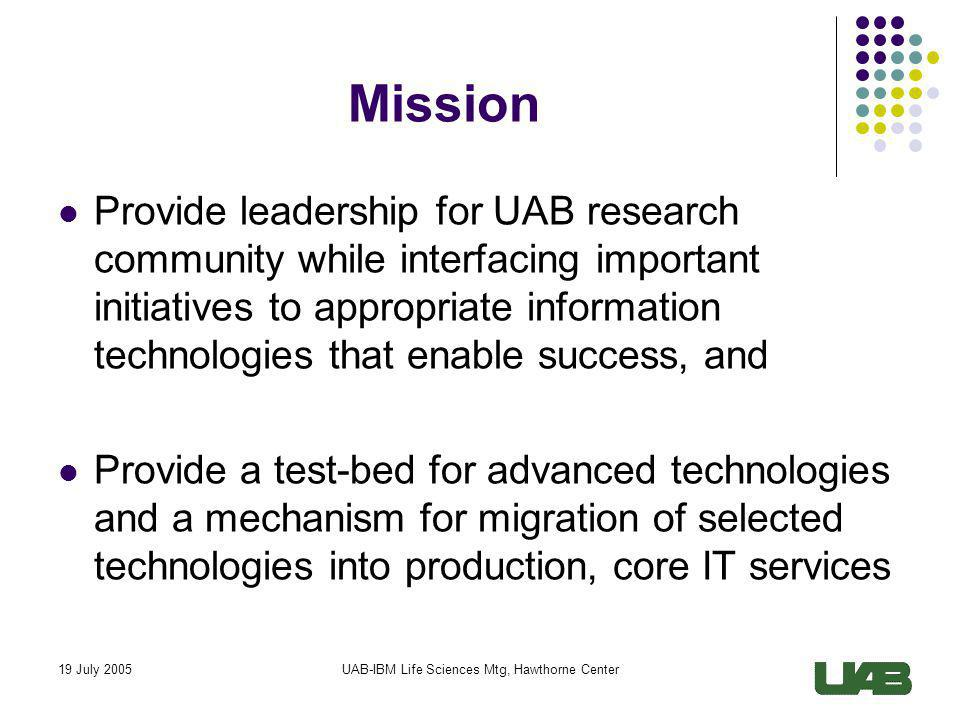 19 July 2005UAB-IBM Life Sciences Mtg, Hawthorne Center Goals FY06 1.