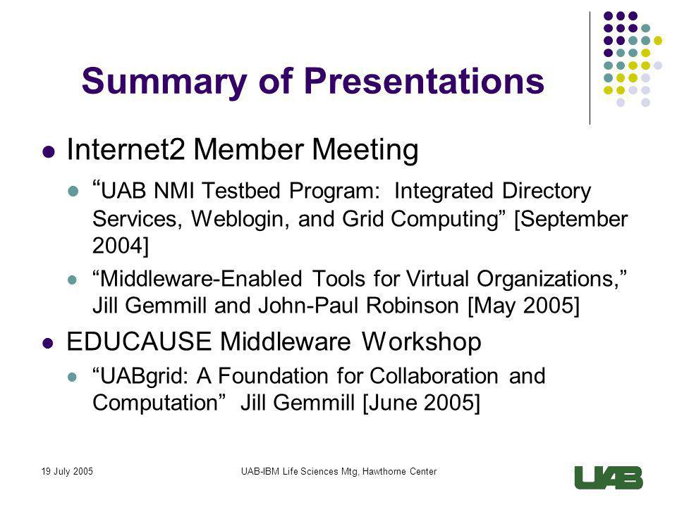 19 July 2005UAB-IBM Life Sciences Mtg, Hawthorne Center VO Workspace of the Future Identity and Attributes shared across applications and organizations Access Control to all shared resources based on rules, e.g.