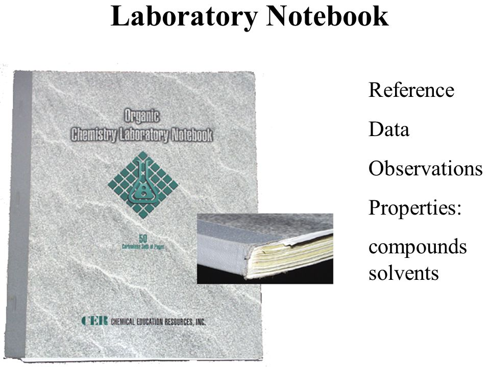 Reference Data Observations Properties: compounds solvents Laboratory Notebook