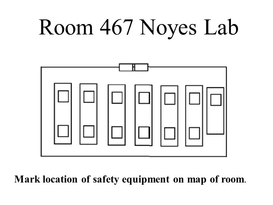Mark location of safety equipment on map of room. Room 467 Noyes Lab