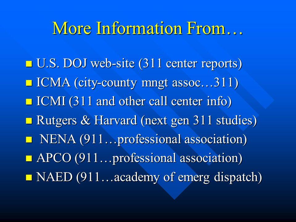More Information From… U.S. DOJ web-site (311 center reports) U.S.