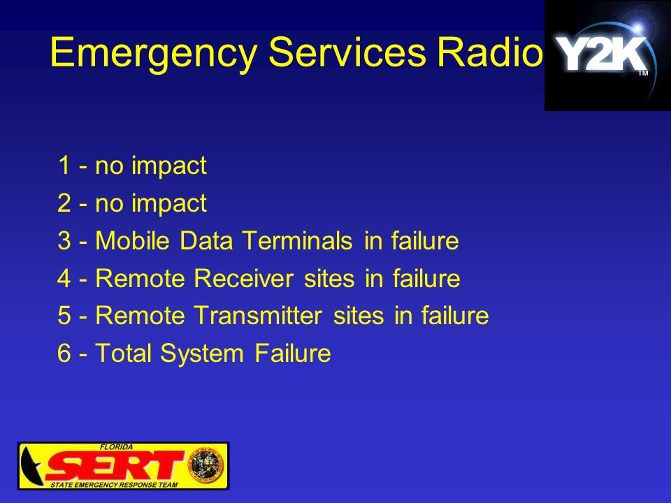 Emergency Services Radio 1 - no impact 2 - no impact 3 - Mobile Data Terminals in failure 4 - Remote Receiver sites in failure 5 - Remote Transmitter