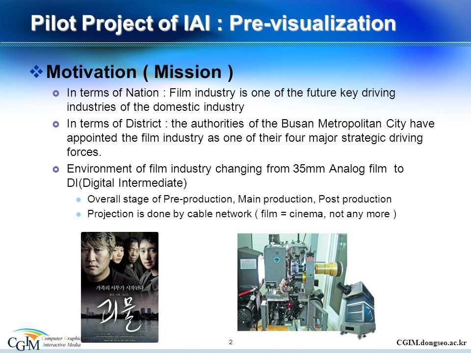 CGIM.dongseo.ac.kr Pilot Project of IAI : Pre-visualization  Motivation ( Mission )  In terms of Nation : Film industry is one of the future key driving industries of the domestic industry  In terms of District : the authorities of the Busan Metropolitan City have appointed the film industry as one of their four major strategic driving forces.