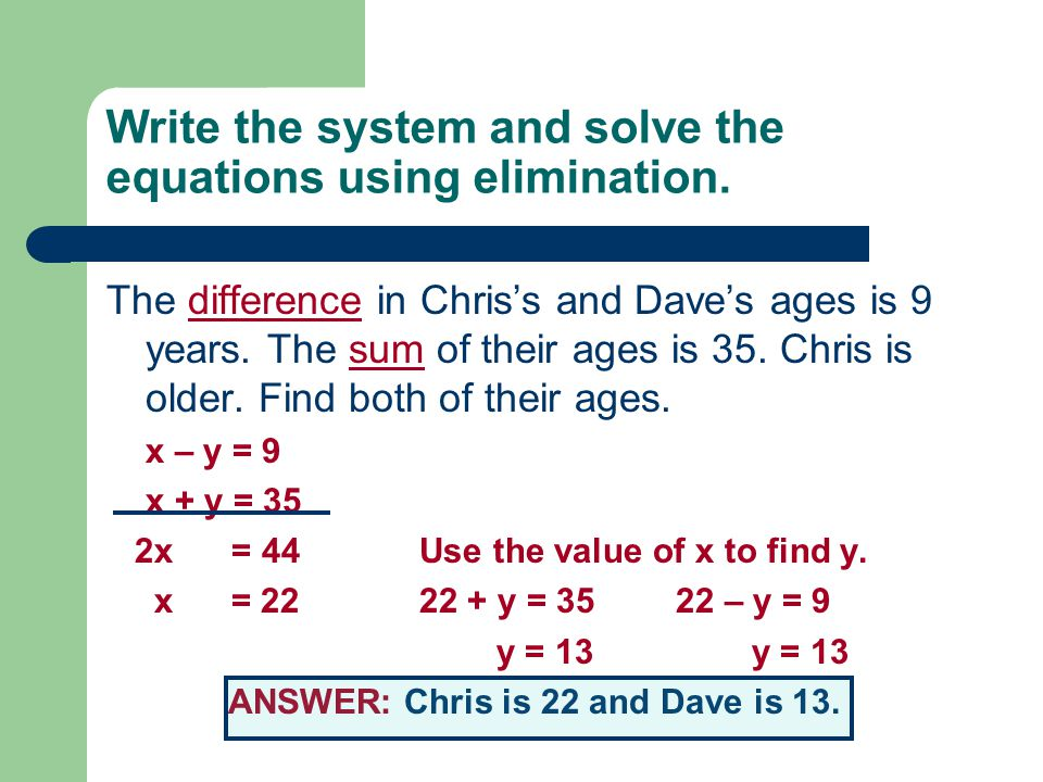 Write the system and solve the equations using elimination.