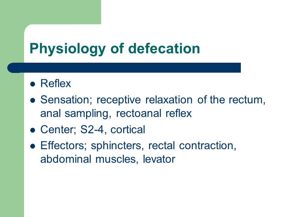 Physiology of defecation Reflex Sensation; receptive relaxation of the rectum, anal sampling, rectoanal reflex Center; S2-4, cortical Effectors; sphin