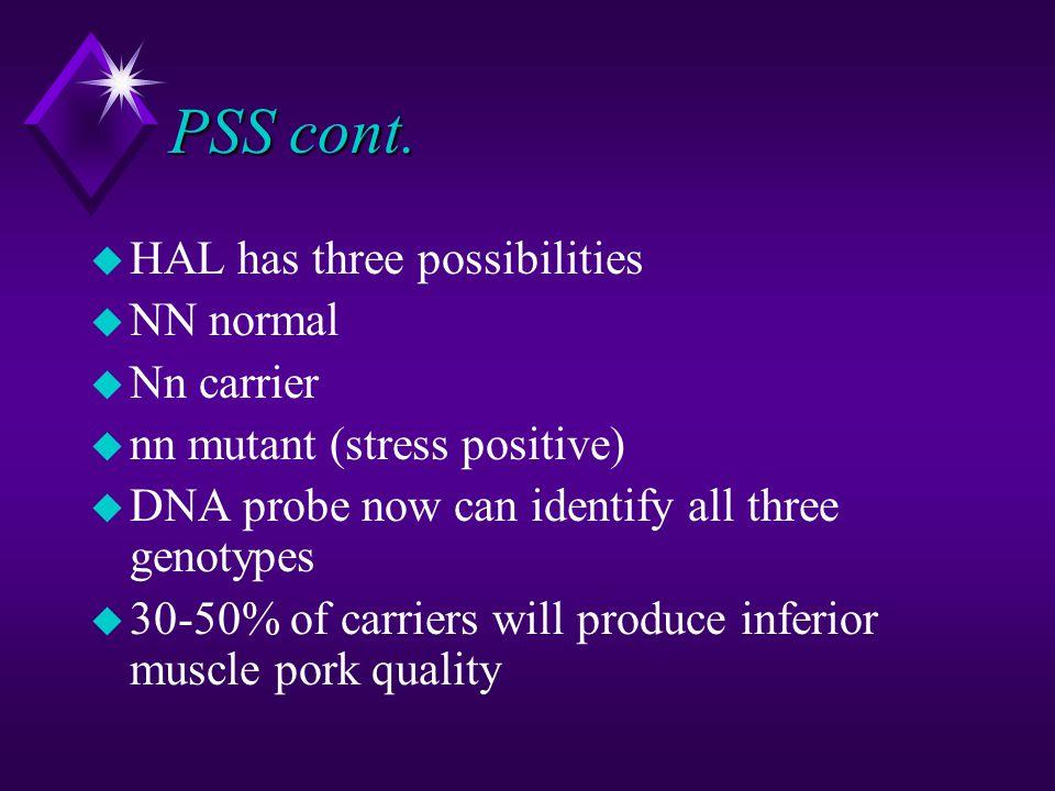 PSS cont. u HAL has three possibilities u NN normal u Nn carrier u nn mutant (stress positive) u DNA probe now can identify all three genotypes u 30-5