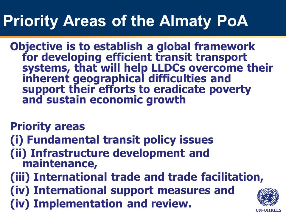 UN-OHRLLS Almaty Programme of Action: selected achievements… International conventions and agreements.
