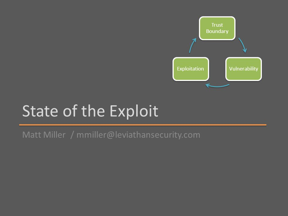 State of the Exploit Matt Miller / mmiller@leviathansecurity.com Trust Boundary VulnerabilityExploitation