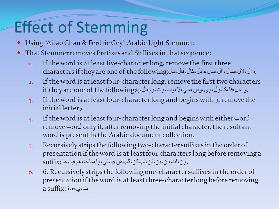 Effect of Stemming Using Aitao Chan & Ferdric Gey Arabic Light Stemmer.