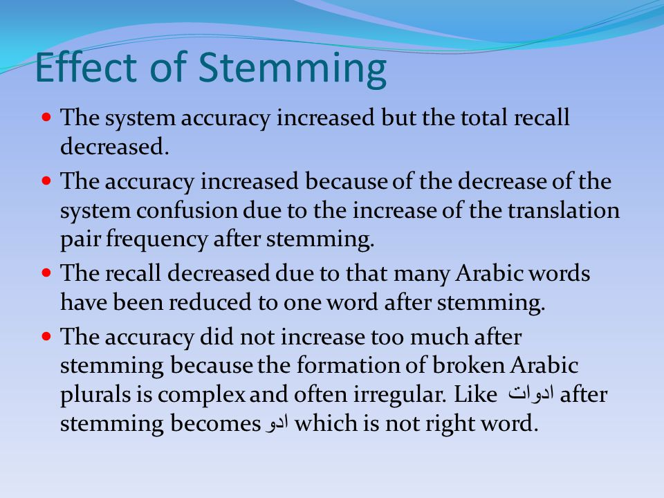 Effect of Stemming The system accuracy increased but the total recall decreased.