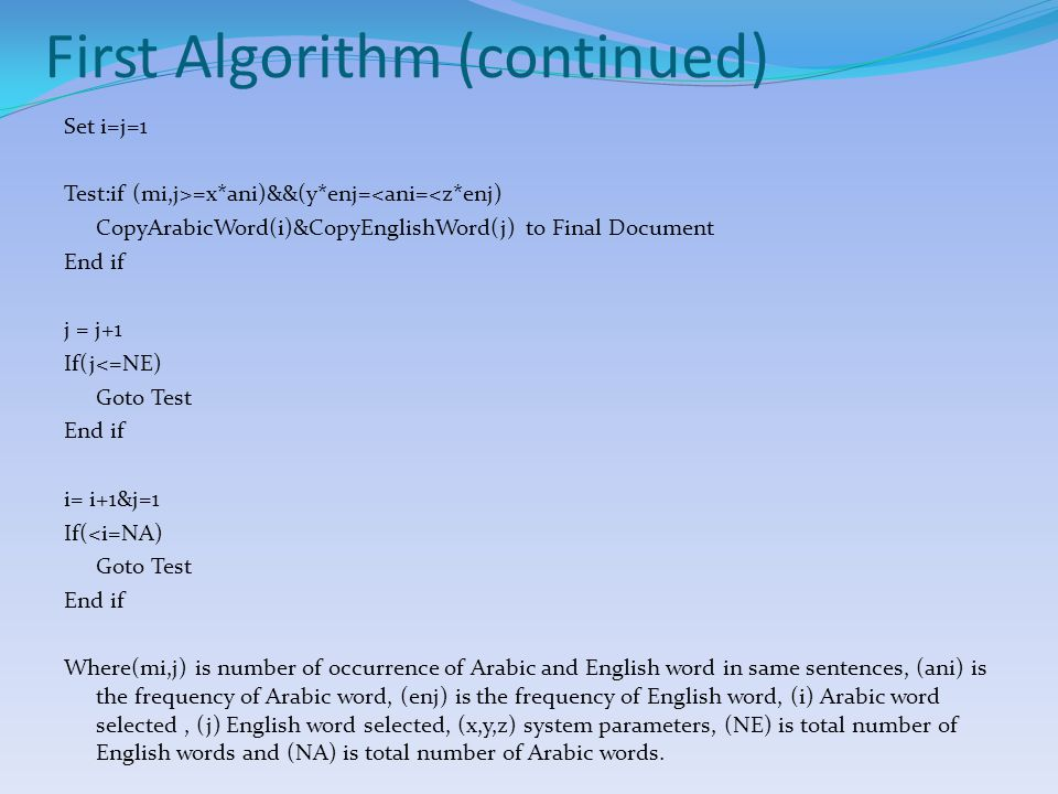 First Algorithm (Example) Assume the following English sentences: (1) Swimming is a popular sport.