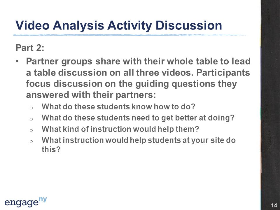 Video Analysis Activity Discussion Part 2: Partner groups share with their whole table to lead a table discussion on all three videos.