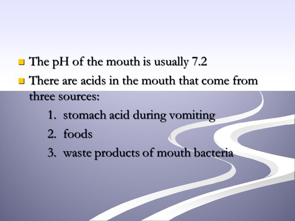 The pH of the mouth is usually 7.2 The pH of the mouth is usually 7.2 There are acids in the mouth that come from three sources: There are acids in th