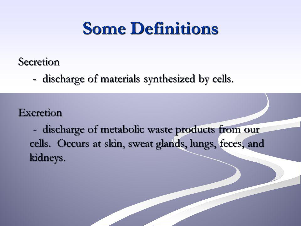 Some Definitions Secretion - discharge of materials synthesized by cells. - discharge of materials synthesized by cells.Excretion - discharge of metab