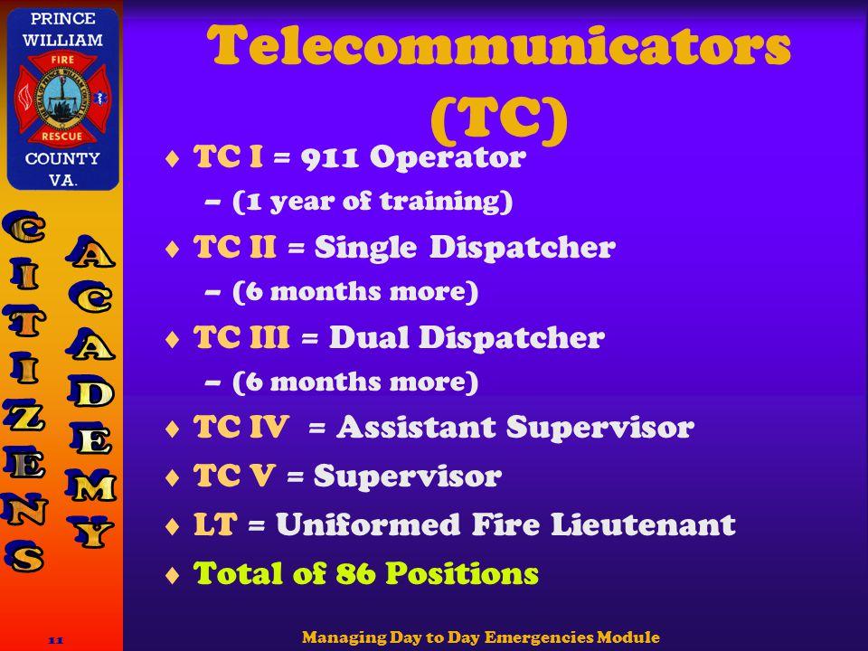 Managing Day to Day Emergencies Module 11 Telecommunicators (TC)  TC I = 911 Operator –(1 year of training)  TC II = Single Dispatcher –(6 months more)  TC III = Dual Dispatcher –(6 months more)  TC IV = Assistant Supervisor  TC V = Supervisor  LT = Uniformed Fire Lieutenant  Total of 86 Positions