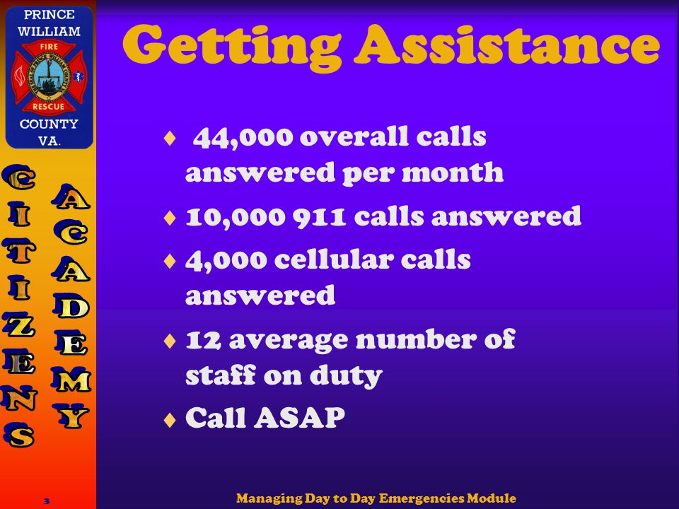 Managing Day to Day Emergencies Module 3 Getting Assistance  44,000 overall calls answered per month  10,000 911 calls answered  4,000 cellular calls answered  12 average number of staff on duty  Call ASAP