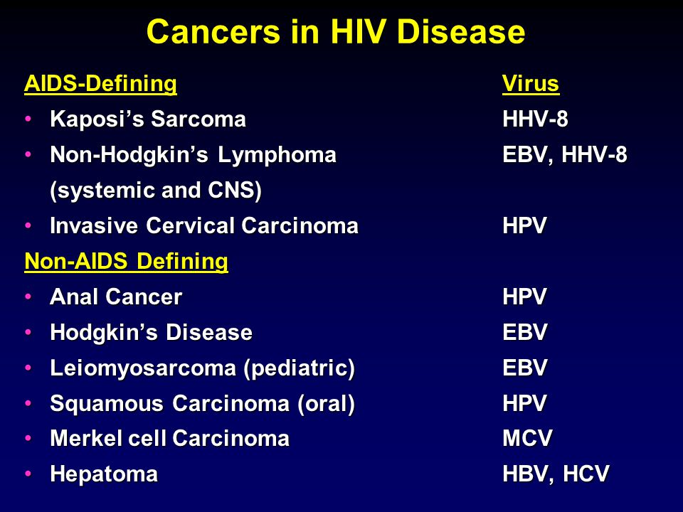 HIV-Cancers: Overview Non-AIDS defining malignanciesNon-AIDS defining malignancies Anogenital neoplasiaAnogenital neoplasia LymphomasLymphomas Kaposi's SarcomaKaposi's Sarcoma Cancer PreventionCancer Prevention