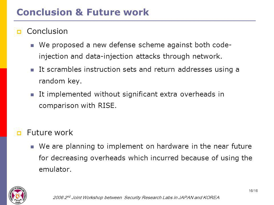 2006 2 nd Joint Workshop between Security Research Labs in JAPAN and KOREA 16/16 Conclusion & Future work  Conclusion We proposed a new defense scheme against both code- injection and data-injection attacks through network.