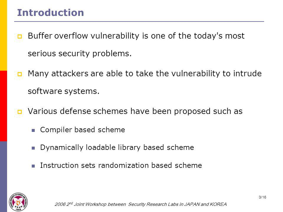2006 2 nd Joint Workshop between Security Research Labs in JAPAN and KOREA 4/16 Backgrounds (1/2)  Buffer overflow vulnerability A buffer which does not check the boundary in the program will be overflowed when it is stuffed with more data than it can handle.