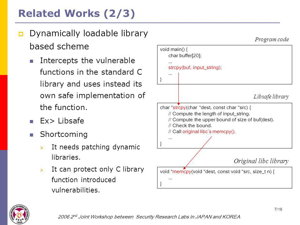 2006 2 nd Joint Workshop between Security Research Labs in JAPAN and KOREA 8/16 Related Works (3/3)  Instruction sets randomization based scheme Performs exclusive-or operation to instruction bytes with random keys.
