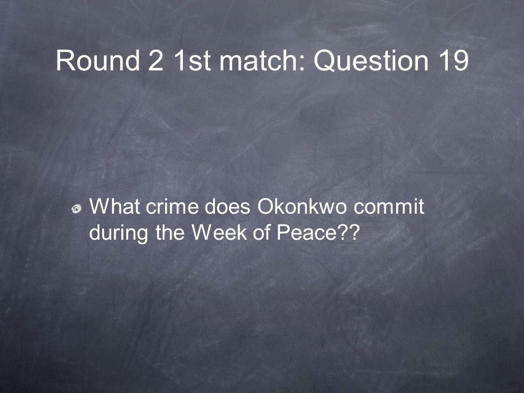 Round 2 1st match: Question 19 What crime does Okonkwo commit during the Week of Peace