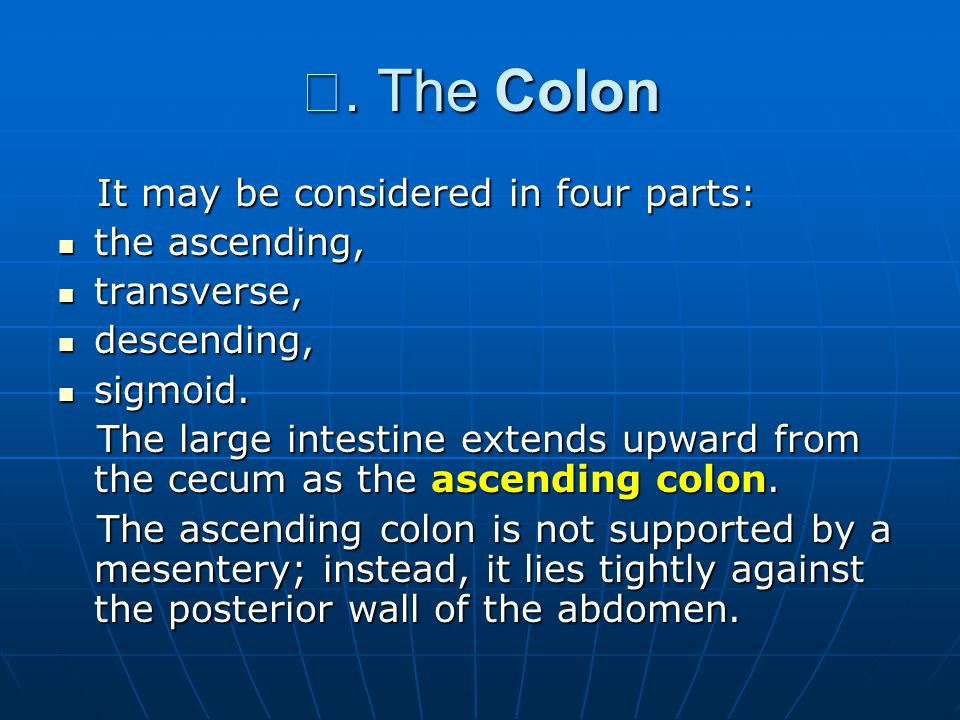 Ⅲ. The Colon It may be considered in four parts: It may be considered in four parts: the ascending, the ascending, transverse, transverse, descending,