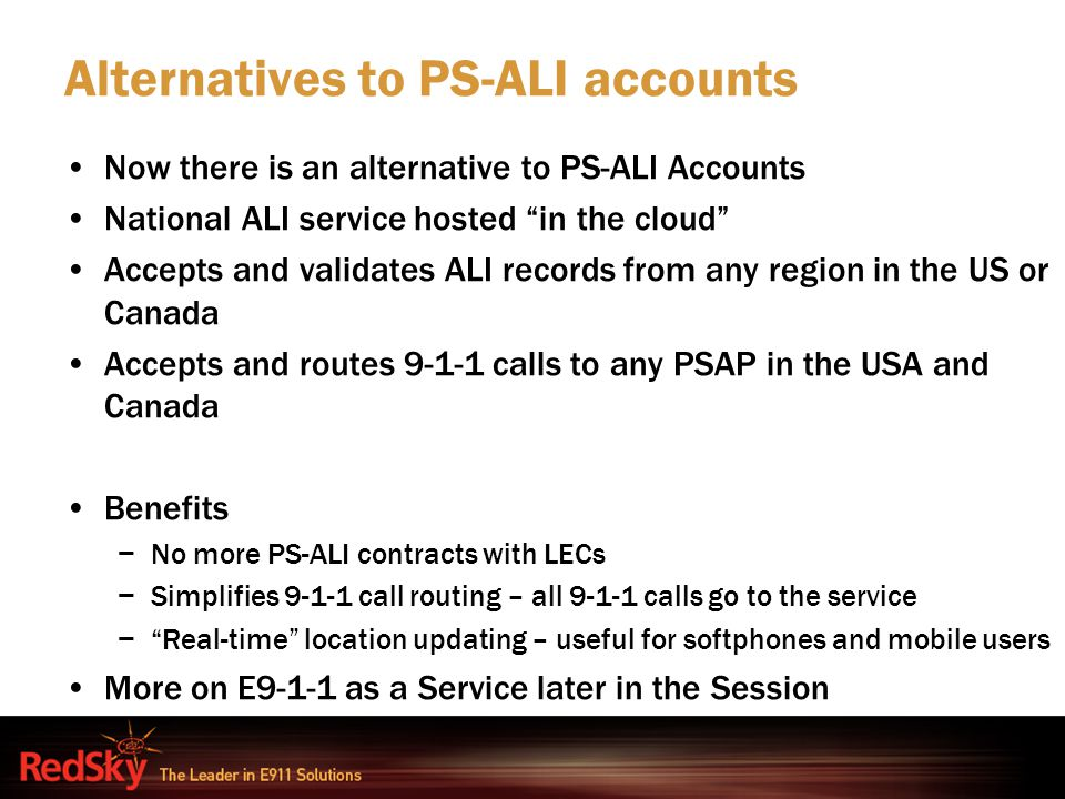 "Alternatives to PS-ALI accounts Now there is an alternative to PS-ALI Accounts National ALI service hosted ""in the cloud"" Accepts and validates ALI re"