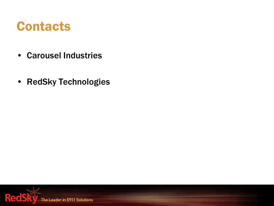 Contacts Carousel Industries RedSky Technologies