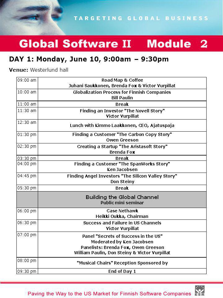 Global Software II Module I DAY 1: Monday, June 10, 9:00am – 9:30pm Venue: Westerlund hall