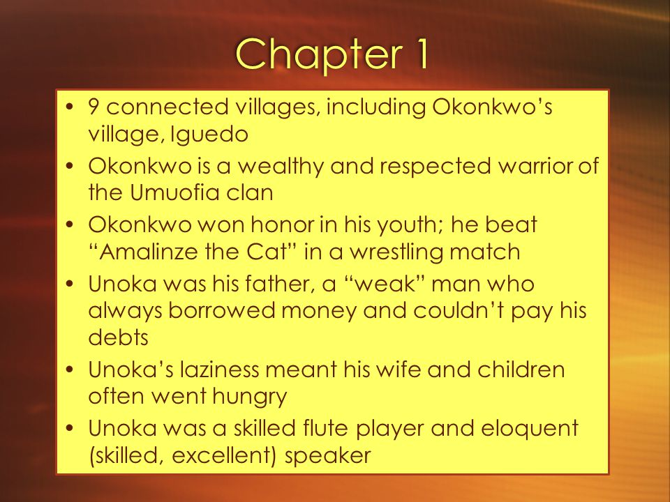 Chapter 2 Town crier rings the ogene (gong) to let clansmen know they should gather in the market in the morning Orator (good speaker) Ogbuefi Ezeugo announces the murder of a woman in the market of neighboring village (Mbaino) Anger, indignation.