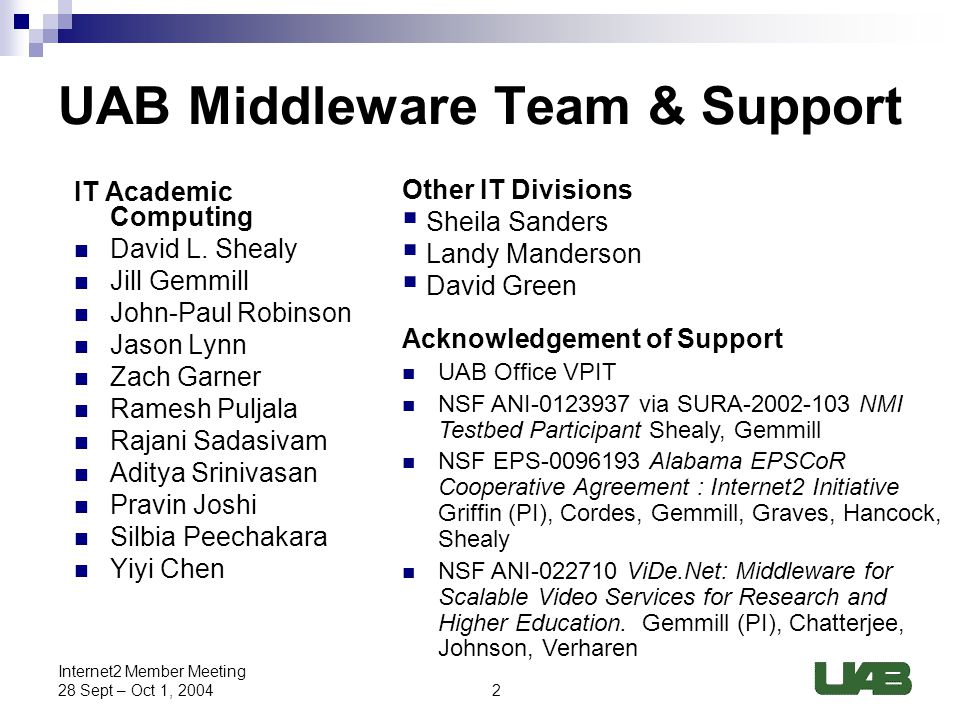 2 Internet2 Member Meeting 28 Sept – Oct 1, 2004 UAB Middleware Team & Support IT Academic Computing David L.